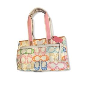 Coach Multicolored Scribbled Hamptons Weekend Tote